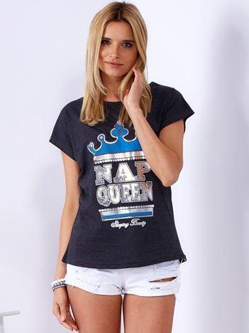 Ciemnoszary t-shirt NAP QUEEN