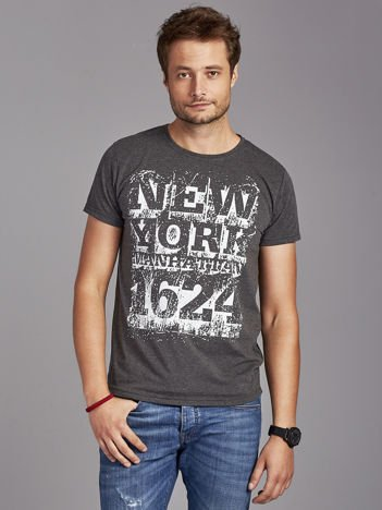 Ciemnoszary t-shirt męski street style