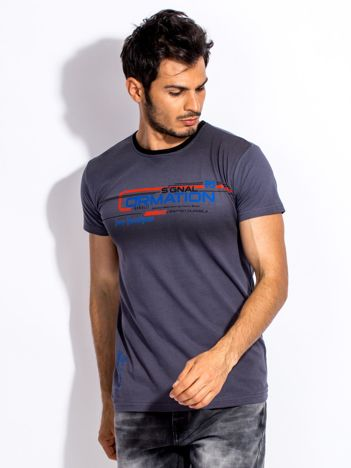 Ciemnoszary t-shirt męski z geometrycznym nadrukiem
