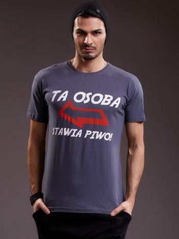 Ciemnoszary t-shirt męski z zabawnym napisem