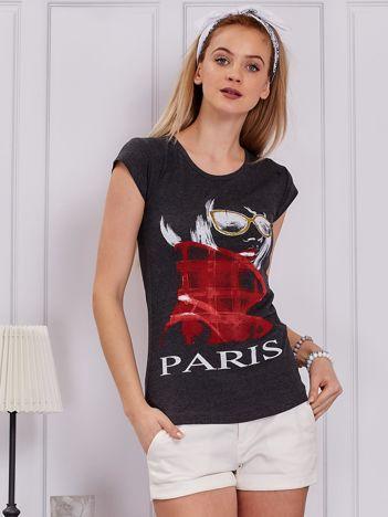 Ciemnoszary t-shirt z dziewczyną i napisem
