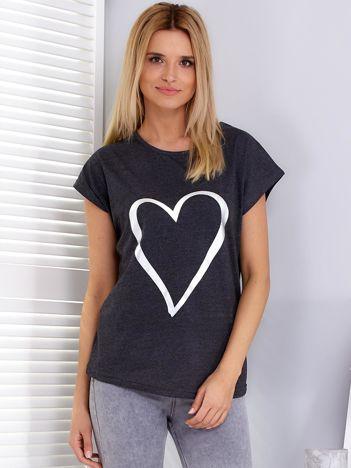 Ciemnoszary t-shirt z srebrnym sercem