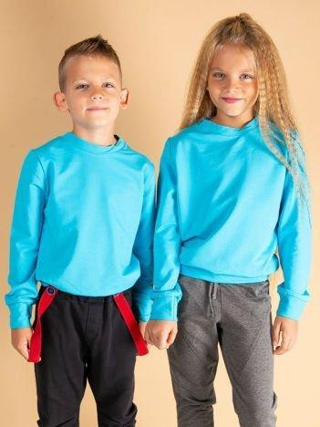 Ciemnoturkusowa gładka bluza dziecięca
