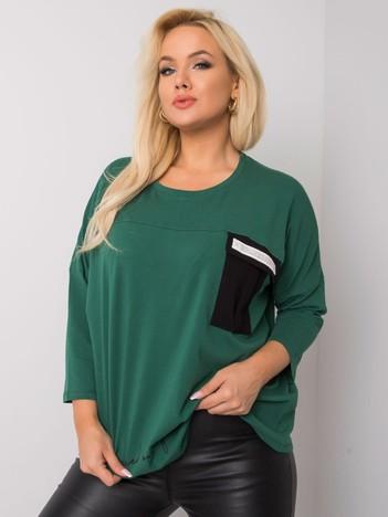 Ciemnozielona bawełniana bluzka plus size z napisem Molly