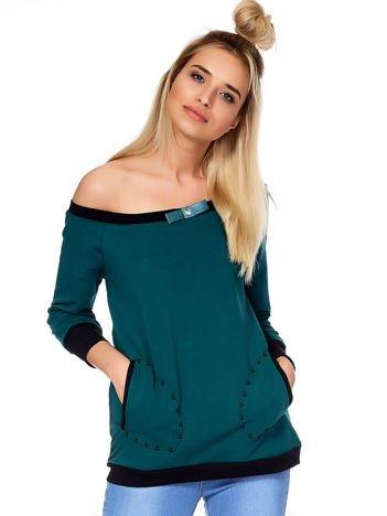 Ciemnozielona bluza z kontrastowymi ściągaczami i perełkami