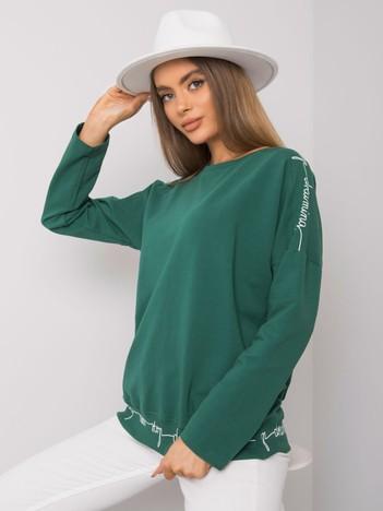Ciemnozielona bluzka bawełniana z długim rękawem Othilie