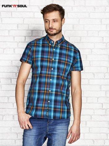 Ciemnozielona koszula męska w kratę FUNK N SOUL