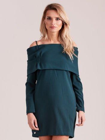 Ciemnozielona sukienka cold arms z szeroką falbaną