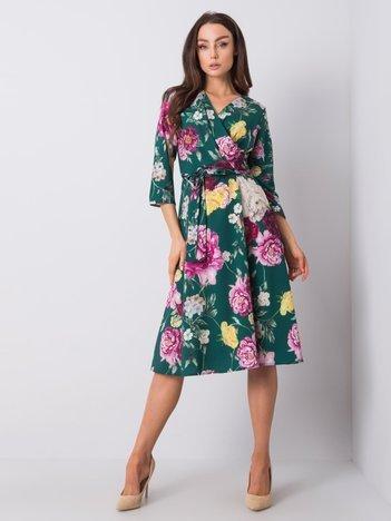 Ciemnozielona sukienka w kwiaty Asther