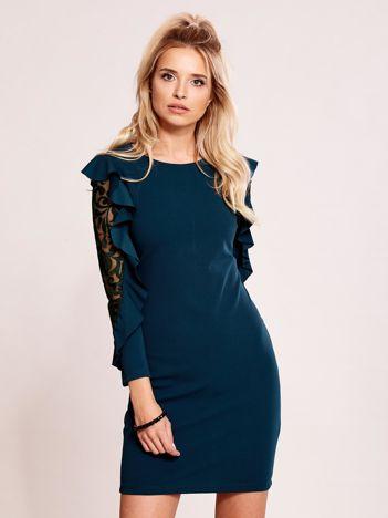 Ciemnozielona sukienka z transparentnymi wstawkami na rękawach