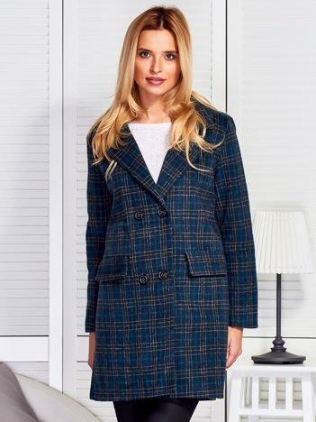 Ciemnozielony dwurzędowy elegancki płaszcz w kratkę