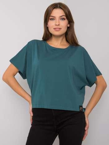 Ciemnozielony luźny t-shirt Imogene FOR FITNESS