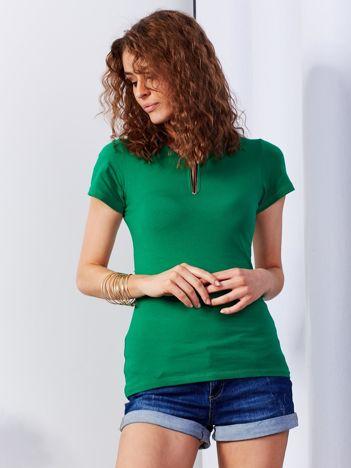 Ciemnozielony t-shirt z biżuteryjną wstawką