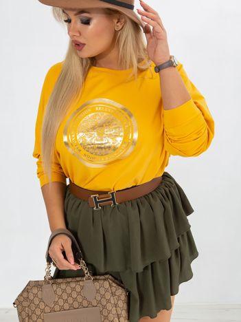 Ciemnożółta bluzka plus size Logo