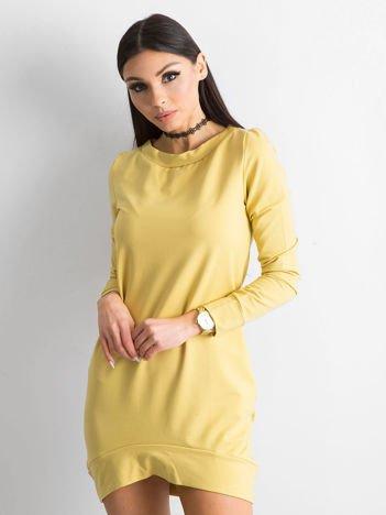 Ciemnożółta dresowa tunika basic
