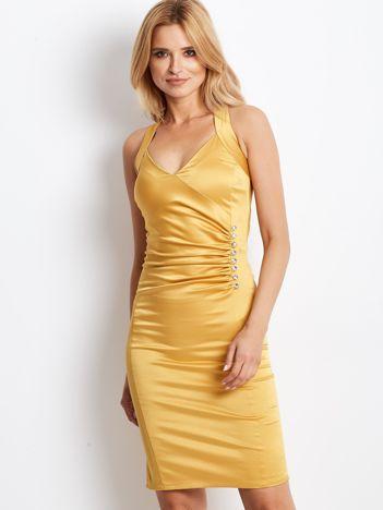Ciemnożółta satynowa sukienka z koronkową wstawką z tyłu