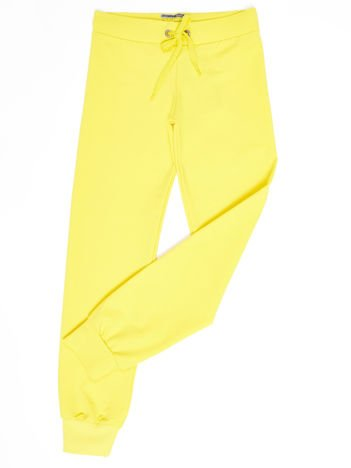 Ciemnożółte dresowe spodnie dziecięce z troczkami