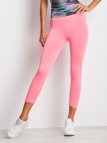 Cienkie legginsy sportowe o długości 3/4 jasnoróżowe