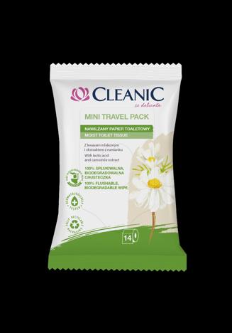 """Cleanic Mini Travel Pack Nawilżany Papier toaletowy - wersja podróżna  1op.-14szt"""""""