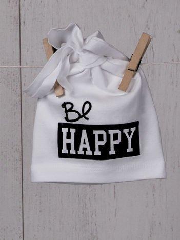 """Czapeczka niemowlęca przejściowa elastyczna z metalicznym wesołym nadrukiem """"be happy""""biała"""
