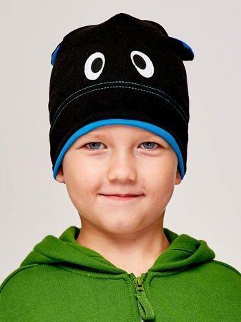 Czapka chłopięca z oczami i uszami czarno-turkusowa