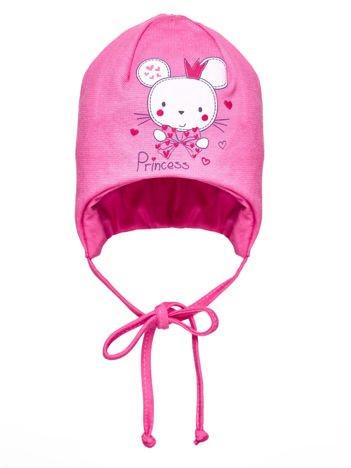 Czapka dziewczęca PRINCESS z myszką i wiązaniem różowa