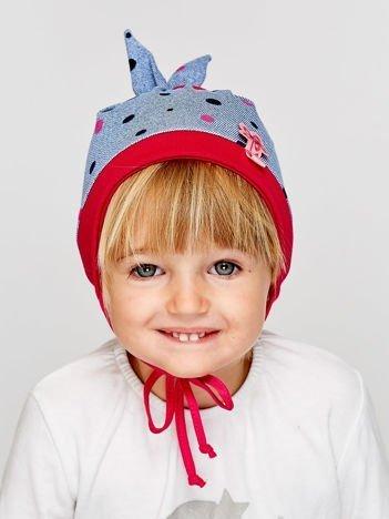 Czapka dziewczęca w groszki z wiązaniami niebieska
