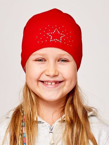 Czapka dziewczęca z aplikacją z dżetów czerwona