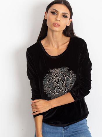Czarna aksamitna bluza damska z aplikacją