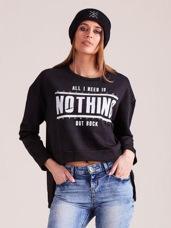 Czarna asymetryczna bluza oversize z nadrukiem