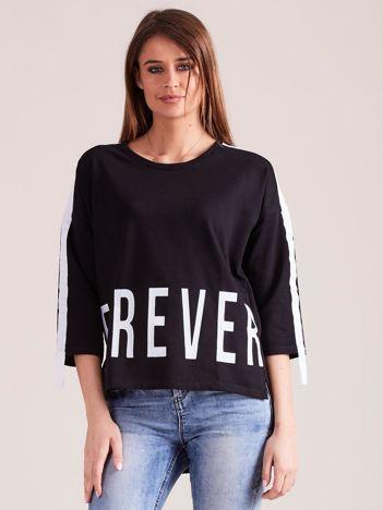Czarna asymetryczna bluza z napisami