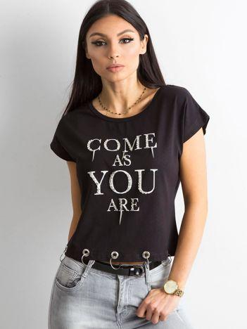 Czarna bawełniana koszulka z aplikacją