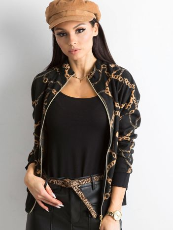 Czarna bluza damska we wzory