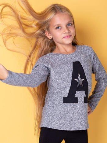 Czarna bluza dla dziewczynki z literą