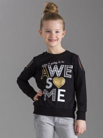 Czarna bluza dla dziewczynki z nadrukiem