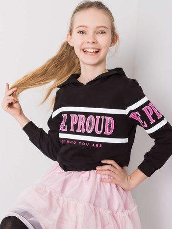 Czarna bluza dla dziewczynki z napisem
