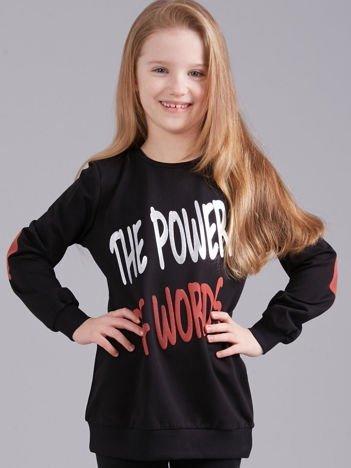 Czarna bluza dziewczęca z nadrukiem i aplikacją