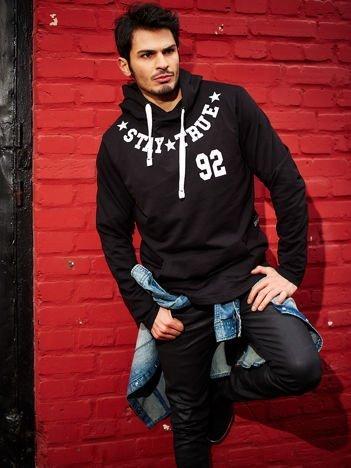 Czarna bluza męska z graficznym printem z tyłu