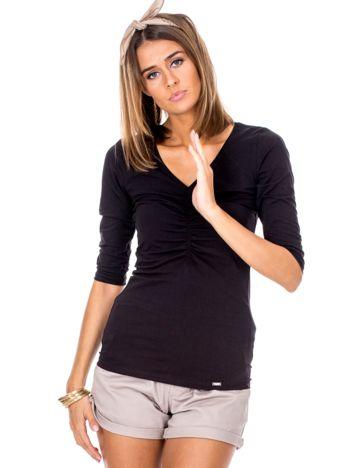 Czarna bluzka V-neck z marszczeniem