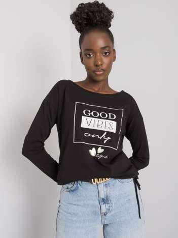 Czarna bluzka bawełniana z nadrukiem Kimberly