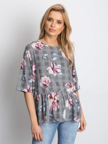 Czarna bluzka damska w kolorowe kwiaty