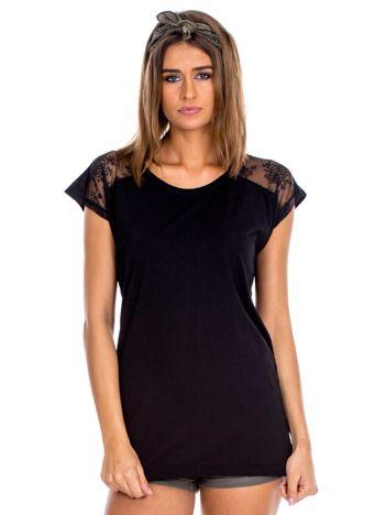Czarna bluzka damska z ażurowaniem na rękawach