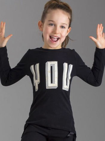 Czarna bluzka dziewczęca z aplikacją