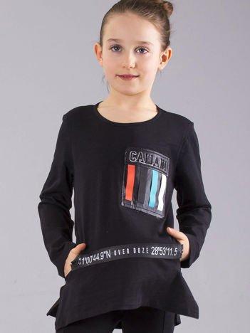 Czarna bluzka dziewczęca z aplikacjami