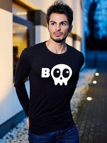 Czarna bluzka męska BOO z nadrukiem Halloween
