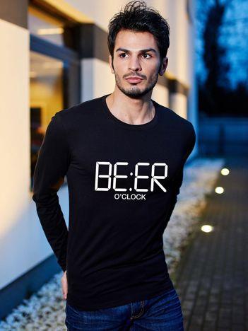 Czarna bluzka męska z długim rękawem BEER O'CLOCK
