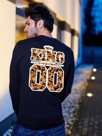 Czarna bluzka męska z moro napisem KING dla par