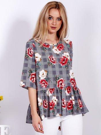 Czarna bluzka w kratę w kolorowe kwiaty