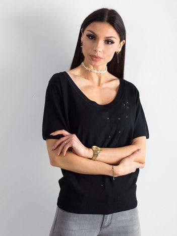 Czarna bluzka z głębokim dekoltem