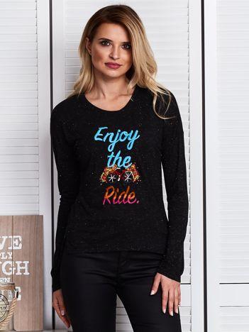 Czarna bluzka z haftowanym rowerem